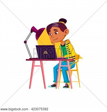 Happy Girl Make Exercise On Computer Cartoon Vector. Happy Girl Make Exercise On Computer Character.