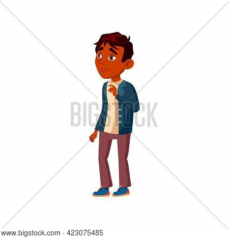 Sadness Boy Bullying Problem Cartoon Vector. Sadness Boy Bullying Problem Character. Isolated Flat C