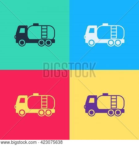 Pop Art Tanker Truck Icon Isolated On Color Background. Petroleum Tanker, Petrol Truck, Cistern, Oil