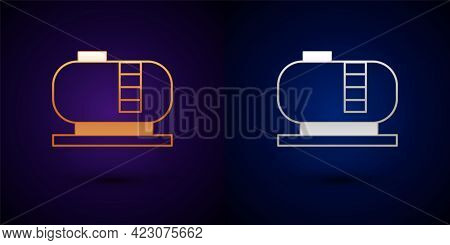 Gold And Silver Oil Tank Storage Icon Isolated On Black Background. Vessel Tank For Oil And Gas Indu