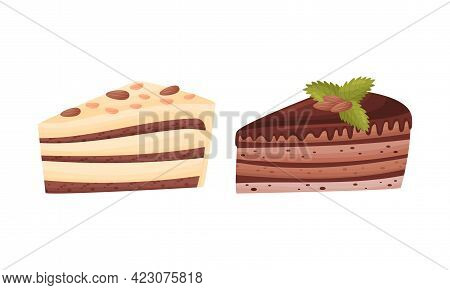 Cake Pieces With Creamy Layer As Yummy Dessert Vector Set