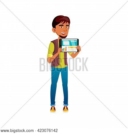 Smiling Asian Boy Showing Web Page On Digital Tablet Cartoon Vector. Smiling Asian Boy Showing Web P