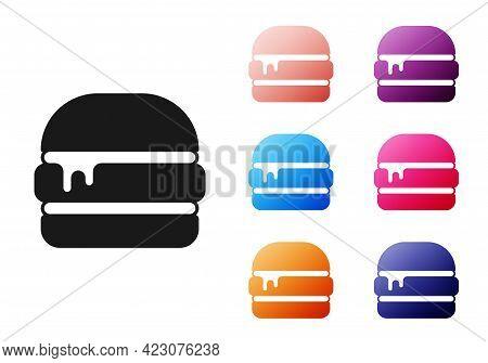 Black Burger Icon Isolated On White Background. Hamburger Icon. Cheeseburger Sandwich Sign. Fast Foo