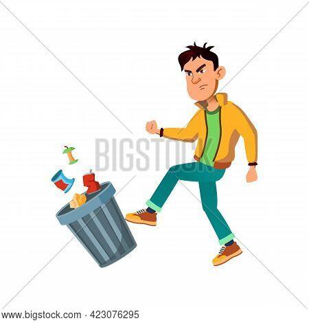 Evil Boy Teen Kicking Trash Can Cartoon Vector. Evil Boy Teen Kicking Trash Can Character. Isolated