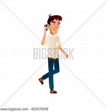 Boy Speaking With Friend On Smartphone Cartoon Vector. Boy Speaking With Friend On Smartphone Charac