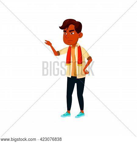 Serious Boy Football Fan Indignation Cartoon Vector. Serious Boy Football Fan Indignation Character.