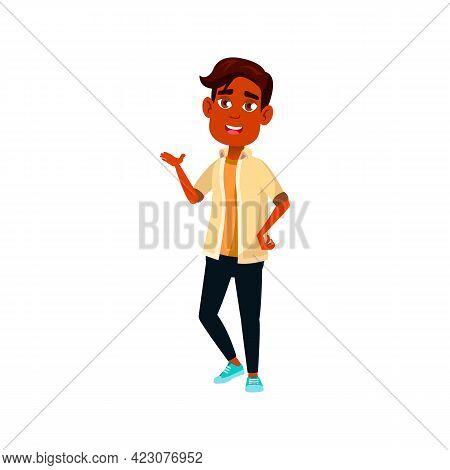 Lucky Boy Student Talking Cartoon Vector. Lucky Boy Student Talking Character. Isolated Flat Cartoon