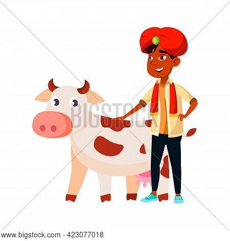 Happy Indian Boy Stroking Cow Cartoon Vector. Happy Indian Boy Stroking Cow Character. Isolated Flat
