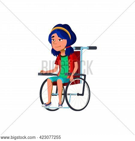 Positive Emotion Girl Invalid In Wheelchair Cartoon Vector. Positive Emotion Girl Invalid In Wheelch