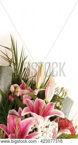 Flowers bouquet floral concept with empty white copy space. Celebration decoration concept. Fresh natural lilies