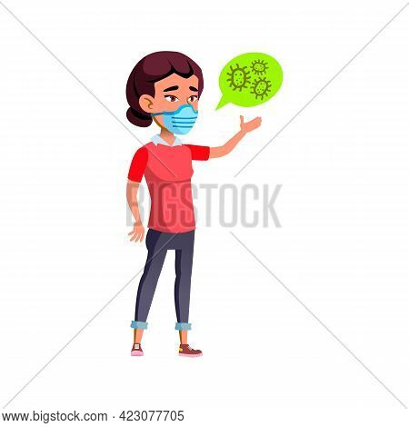 Young Girl Wearing Protective Facial Mask Cartoon Vector. Young Girl Wearing Protective Facial Mask