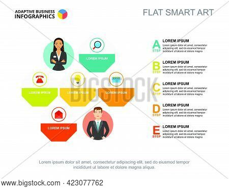 Five Points List Process Chart Template For Presentation. Business Data. Abstract Elements Of Diagra