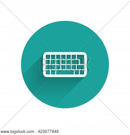 White Computer Keyboard Icon Isolated With Long Shadow Background. Pc Component Sign. Green Circle B