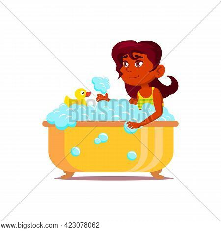 Happy Indian Girl Child Washing In Bath With Bubbles And Duck Toy Cartoon Vector. Happy Indian Girl