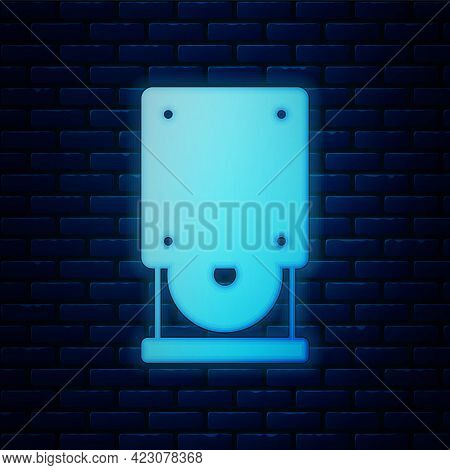 Glowing Neon Optical Disc Drive Icon Isolated On Brick Wall Background. Cd Dvd Laptop Tray Drive For