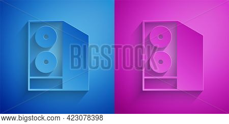 Paper Cut Case Of Computer Icon Isolated On Blue And Purple Background. Computer Server. Workstation