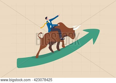 Stock Market Bull Market, Financial Asset Value And Price Rising Up, Investor And Trader Gain More P