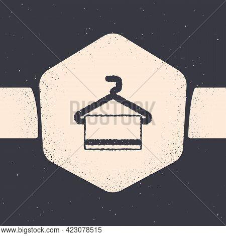 Grunge Towel On Hanger Icon Isolated On Grey Background. Bathroom Towel Icon. Monochrome Vintage Dra