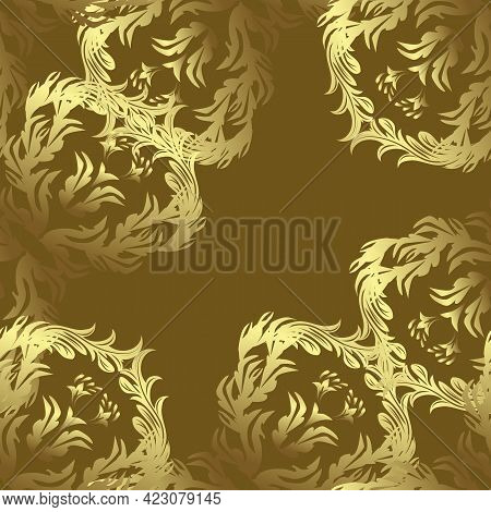 Damask Orient Ornament. Orient Yellow, Brown And Neutral Ornament For Fabric, Sketch And Packaging.