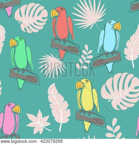 Seamless Pattern With Parrots Line Art, Vector. Simple Continuous Pattern With Exotic Tropical Birds
