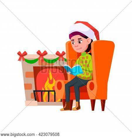 Girl In New Year Celebrative Mood Reading Book Near Fireplace Cartoon Vector. Girl In New Year Celeb