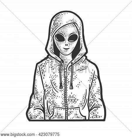 Alien In Hoodie Sweatshirt Line Art Sketch Engraving Vector Illustration. T-shirt Apparel Print Desi