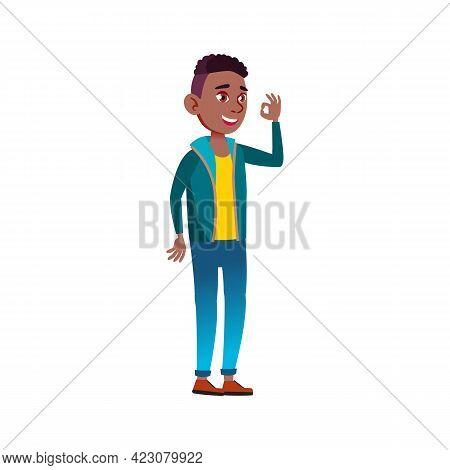 African Boy Teen Approving Of Photo Cartoon Vector. African Boy Teen Approving Of Photo Character. I
