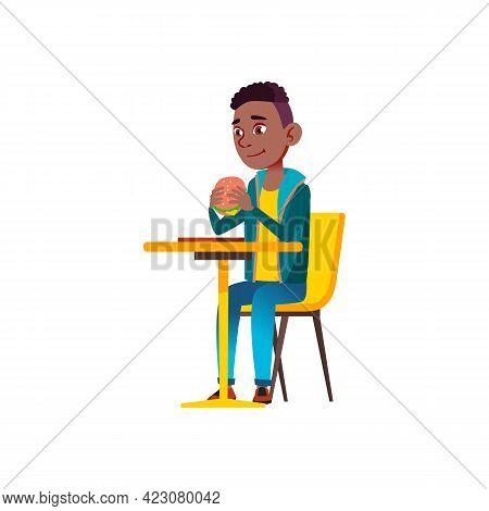 African Boy Eat Cheeseburger At Restaurant Table Cartoon Vector. African Boy Eat Cheeseburger At Res