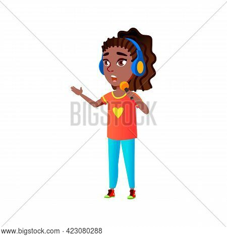Pretty Girl With Earphones And Microphone Gadget Singing Song Cartoon Vector. Pretty Girl With Earph