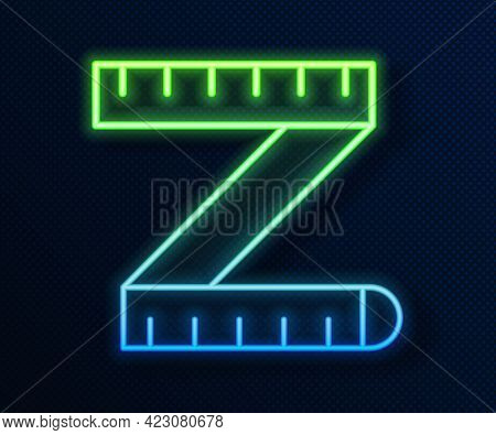 Glowing Neon Line Tape Measure Icon Isolated On Blue Background. Measuring Tape. Vector
