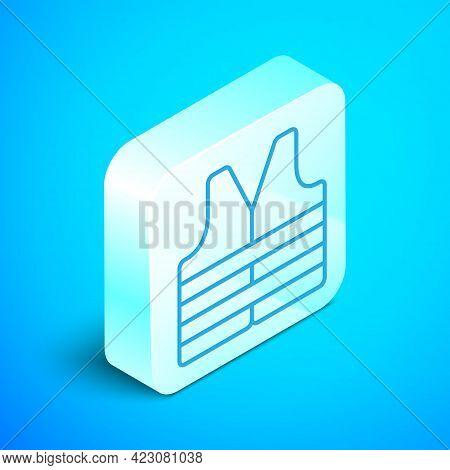Isometric Line Life Jacket Icon Isolated On Blue Background. Life Vest Icon. Extreme Sport. Sport Eq
