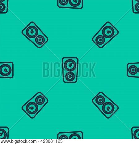 Blue Line Gauge Scale Icon Isolated Seamless Pattern On Green Background. Satisfaction, Temperature,