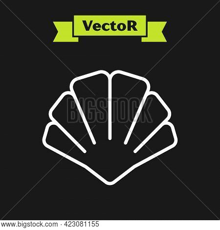 White Line Scallop Sea Shell Icon Isolated On Black Background. Seashell Sign. Vector