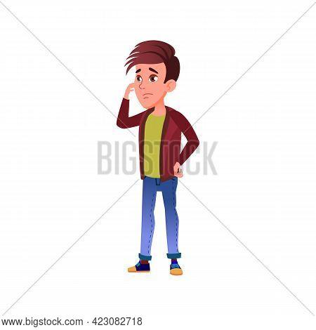 Sad Boy Thinking How Resolve Problem Cartoon Vector. Sad Boy Thinking How Resolve Problem Character.