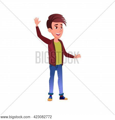 Boy With Positive Emotion Glad To See Friends Cartoon Vector. Boy With Positive Emotion Glad To See