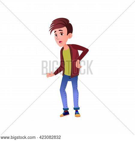 Young Boy Has Backache Cartoon Vector. Young Boy Has Backache Character. Isolated Flat Cartoon Illus