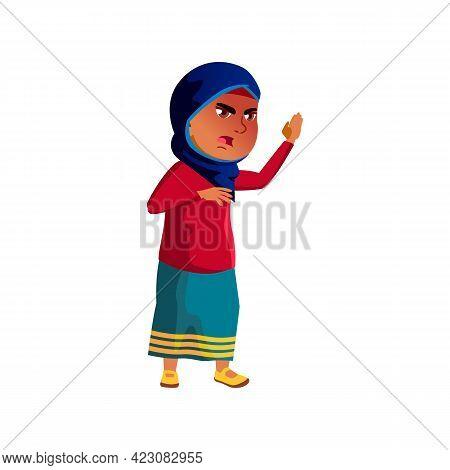 Angry Islamic Girl Child Shouting On Sister Cartoon Vector. Angry Islamic Girl Child Shouting On Sis