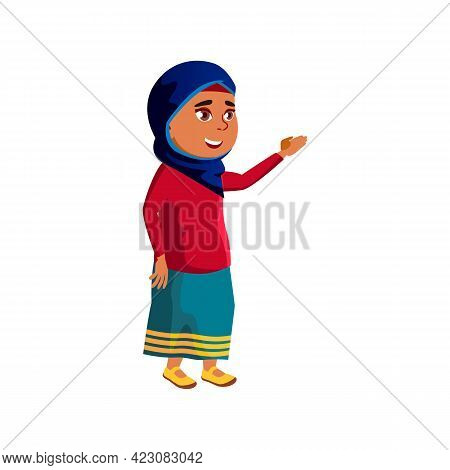 Happy Arab Girl Kid Showing Direction In Mall Cartoon Vector. Happy Arab Girl Kid Showing Direction