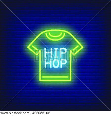 Hip-hop T-shirt Neon Sign. Luminous Signboard With Garment. Night Bright Advertisement. Vector Illus