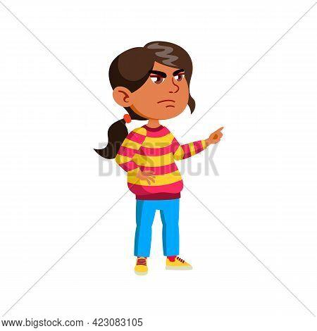 Mad Girl Kid Swearing Doll In Room Cartoon Vector. Mad Girl Kid Swearing Doll In Room Character. Iso