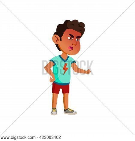 Mad Arabic Boy Shouting On Brother Cartoon Vector. Mad Arabic Boy Shouting On Brother Character. Iso