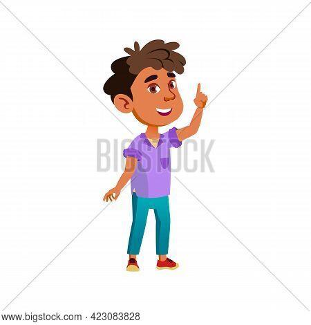 Latino Small Boy Has An Idea For Game Cartoon Vector. Latino Small Boy Has An Idea For Game Characte