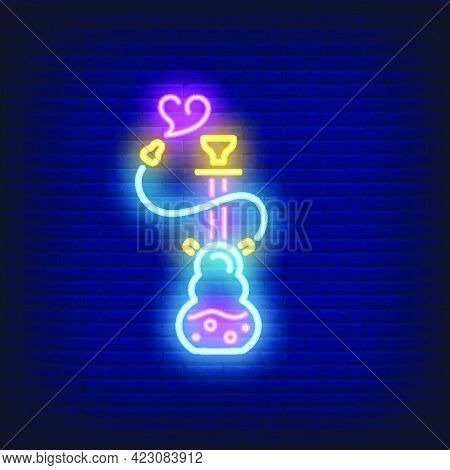 Neon Icon Of Hookah With Heart Shaped Smoke On Brick Wall Background. Nightlife Or Dating Concept. B