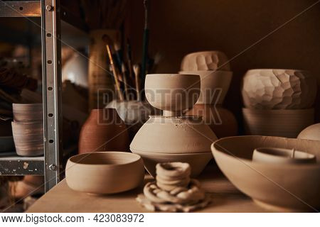 Image Of Earthenware And Ceramic Ware In Art Studio