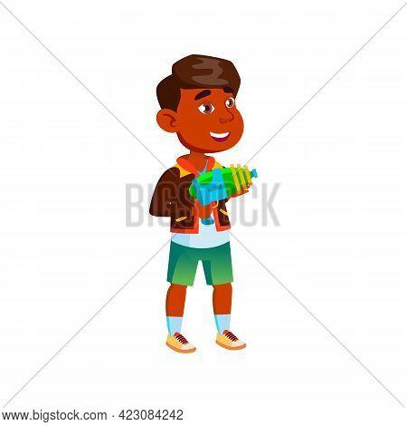 Amused Hispanic Kid Playing Blaster Gun Cartoon Vector. Amused Hispanic Kid Playing Blaster Gun Char