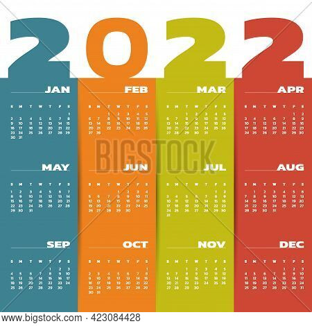 Calendar For 2022 Year. Colorful Year 2022 Calendar. Week Starts Sunday. Planner Wall Monthly Calend