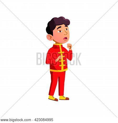 Chinese Little Boy Singing On Scene Cartoon Vector. Chinese Little Boy Singing On Scene Character. I