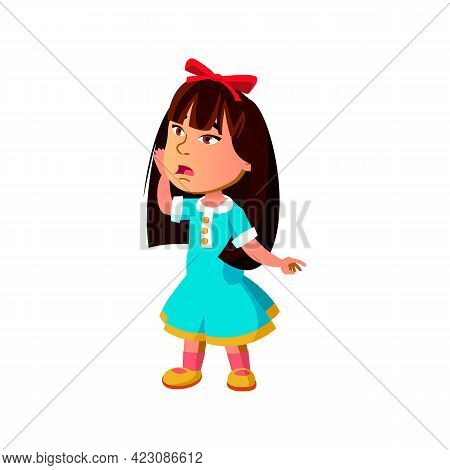 Shocked Small Girl Saw Santa Claus In Mall Cartoon Vector. Shocked Small Girl Saw Santa Claus In Mal