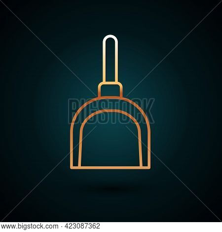 Gold Line Dustpan Icon Isolated On Dark Blue Background. Cleaning Scoop Services. Vector