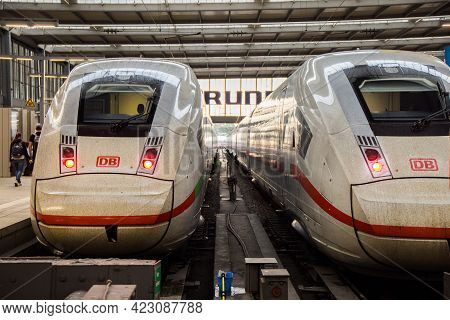 Ice Trains At Munich Central Station - Munich, Germany - June 03, 2021 - Munich, Germany - June 03,